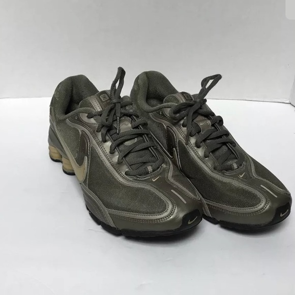 Women s Nike Shox Metallic Green Gold Sneakers. M 5b4278714ab63321507ec316 031fd0f768